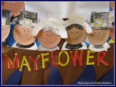 Close up of Pilgrims Created with Paper Plates via RainbowsWIthinReach