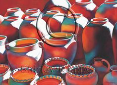 """""""Breathless Reds and Phantom Blues"""" watercolor is the seventh painting in the """"Pots and Jars Series."""" The series started with """"Pots and Jars,"""" using natural colors of browns and blues in a realistic, representational technique. The next in line paintings in order are: """"Hot Pots,"""" """"Fire Pots,"""" """"Ruthless Reds, Rogue Oranges, and Virgin Whites,' """"Passionate Primaries,"""" and """"Red Hearts and White Lips."""""""