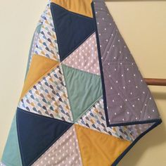 Handmade baby quilt, lap quilt, gender neutral baby quilt, triangle quilt, modern baby quilt, feather navy, yellow, green, gray cotton quilt by OliveCottageQuilts on Etsy