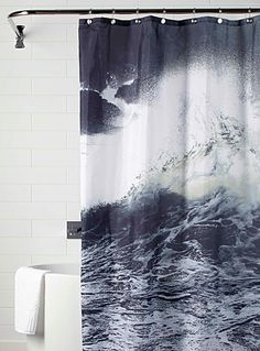 Our fabric shower curtains are here to help you complete your bathroom decor by creating a chic, modern, and relaxing atmosphere. Cool Shower Curtains, Interior Decorating, Waves, Layout, Interiors, Cool Stuff, Modern, Home Decor, Trendy Tree