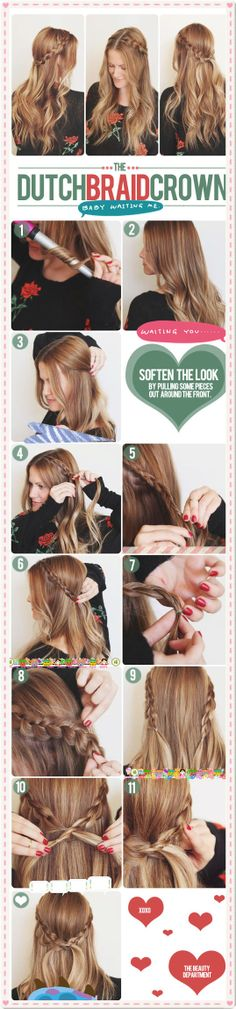 Holly jolly hair idea for party-going pretties . Easy dutch crown braid to achieve, isn't it? :p