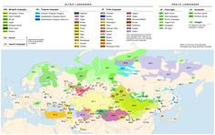 Linguistic map of the Altaic, Turkic and Uralic languages