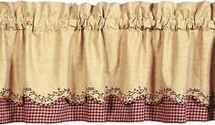 Checker Berry Scalloped primitive valance with an embroidered berry vine on the scalloped layer. Wine and tan check under layer with tan on tan pattern on the scalloped layer. Kitchen Curtains, Valance Curtains, Curtain Patterns, Country Primitive, Cottage Chic, Kitchen And Bath, Berries, Inspiration, Window