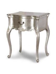 The Tiffany French bedside table is a wonderful piece of furniture. This piece features 1 drawer and hand painted in a beautiful silver leaf. It looks amazing when placed with our Tiffany bed. Metallic Painted Furniture, Silver Furniture, French Furniture, Shabby Chic Furniture, Mahogany Furniture, Painted Bedside Tables, French Bedside Tables, Modern Bedside Table, Silver Nightstand