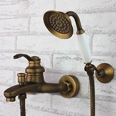 Rozinsanitary Wall Mounted Bathroom Antique Brass Bathroom Tub Faucet With Hand Shower Mixer