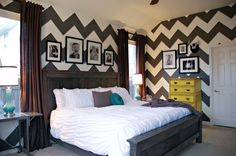 Bedroom Gray White Chevron Zig Zag Strips with Yellow Teal accents. Paint Colors: Dark Granite by Behr and Powered Snow by Behr Maybe one accent wall? Gray Bedroom, Master Bedroom, Bedroom Decor, Bedroom Ideas, Bedroom Inspiration, Bedroom Yellow, Teen Bedroom, Bedroom Colors, Interior Inspiration