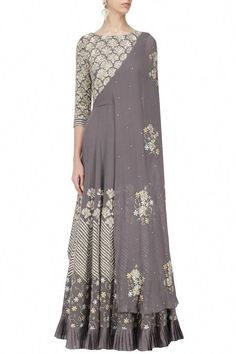 Seema Thukral presents Grey floral embroidered attached dupatta anarkali available only at Pernia's Pop Up Shop. Indian Gowns, Indian Attire, Indian Outfits, India Fashion, Ethnic Fashion, Mom Fashion, Fashion Weeks, Crazy Quilting, Look Short
