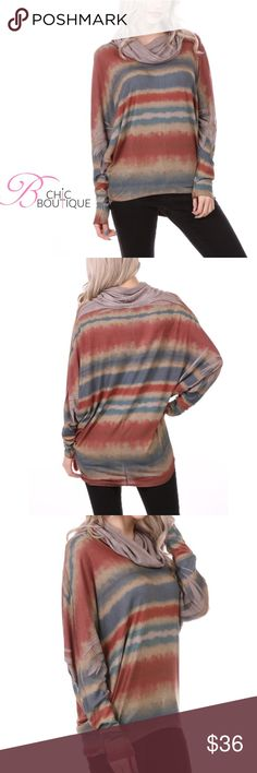 """Stone Striped Cowl Neck Long Sleeve Top Stone Striped Cowl Neck Long Sleeve Top. Has a Dolman sleeve style. Made of poly/ Rayon/ spandex blend. Measurements for small: length 25""""/ bottom hem 16"""". Large length 26""""/ bottom hem measured across laying flat 19"""". Bchic Tops"""