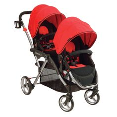 Transport your little ones in style and comfort with this crimson LT tandem stroller. The stroller is made with a stadium-seating design for maximum visibility and features an extra-large storage basket and cup holder for your convenience.