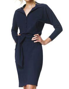 Gemma - navy - Jersey lycra dress   LaDress