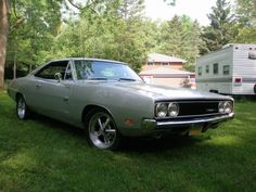 """1969 Dodge Charger 500:  silver with a black """"500"""" bumblebee stripe."""