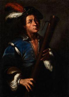 Bernardo Strozzi, 1581 - 1644, Umkreis HALBBILDNIS EINES MUSIKERS MIT FAGOTT Öl auf Leinwand. 104 x 75 cm. Ungerahmt. Halbbildnis in Lebensgröße, das Barett mit Straußenfedern. (1110873) (11)... Basson, Mural Painting, Dance Studio, Old Master, Beautiful Paintings, Art History, Murals, Oil On Canvas, Musicians