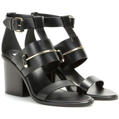 Balenciaga Leather Sandals (€375) ❤ liked on Polyvore featuring shoes, sandals, black, kohl shoes, leather shoes, black leather shoes, balenciaga and black sandals
