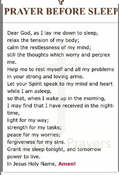 Prayer Verses, Faith Prayer, God Prayer, Prayer Quotes, Power Of Prayer, Prayer Before Sleep, Sleep Prayer, Bedtime Prayer, Prayers For Healing