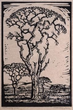 Pierneef - groot boom en landskap ( big tree and landscape) Lino Art, Woodcut Art, Painting Prints, Art Prints, Block Prints, South African Artists, Encaustic Art, Art Techniques, Traditional Art