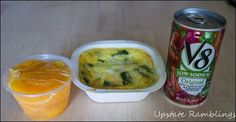 One of my favorite Diet-to-Go breakfasts - asparagus and egg frittata, peaches and a  V8.