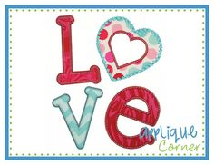 LOVE Heart Applique Design