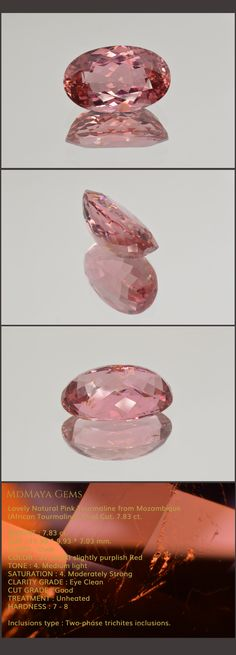 Lovely Natural Pink Tourmaline from Mozambique (African Tourmaline). Oval Cut. 7.83 ct.  Loose Gemstones for Sale MdMaya Gems