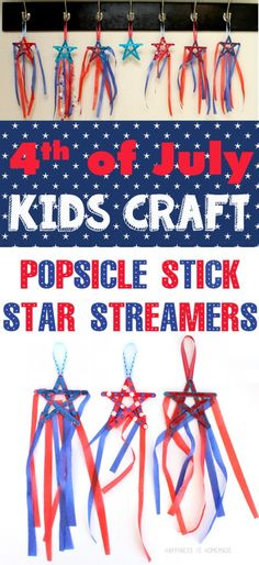 of July Kids Craft Idea - Patriotic Star Streamers (holiday crafts of july) 4th July Crafts, Fourth Of July Crafts For Kids, Patriotic Crafts, 4th Of July Party, Fun Crafts For Kids, Summer Crafts, Craft Stick Crafts, July 4th, Holiday Crafts
