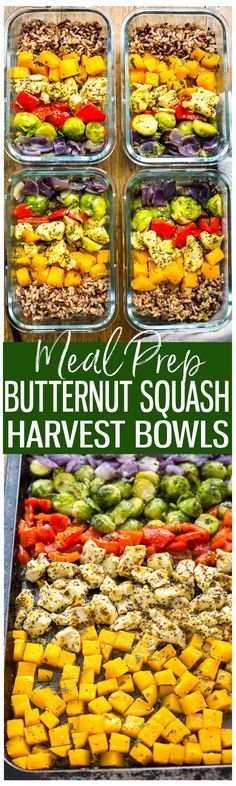 These Meal Prep Chicken & Butternut Squash Harvest Bowls with brussels sprouts, sage & wild rice are a delicious lunch or dinner idea cooked on a sheet pan and filled with fall flavours!