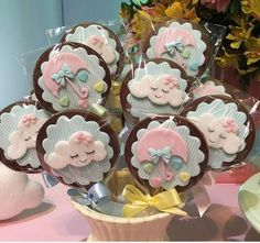 The Top Romantic Gift Ideas – Gift Ideas Anywhere Baby Birthday, First Birthday Parties, First Birthdays, Fondant Cookies, Baby Cookies, Raindrop Baby Shower, Cloud Party, Cloud Cake, Ballerina Cakes