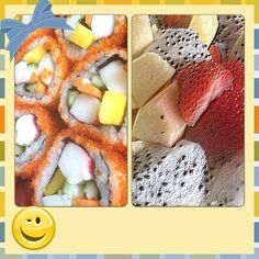 #mylunch #californiamaki #fruits #dragonfruit #strawberry #pineapple #foodporn #happywife ❤❤❤ my Hubby brought me these just for me, He made an effort, so sweet 'coz for about 3 weeks I lost my apetite and He is worried what food I want.  For Him I will surely eat. #Padgram