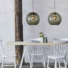 Gloria Ø Røykfarget/messing oppheng Glass Pendant Light, Glass Lamp Shade, Industrial Style Lighting, Glass Lamp, Dining Table, Home Decor, Buy Pendant Lights, Modern Kitchen Design, Dining Table Lighting
