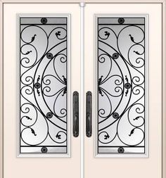 WROUGHT IRON GLASS DOOR INSERTS! • Showcasing our Bakerfield Model • Installed in about an hour using your existing door! Over 100 different designs to chose from! MESSAGE US FOR A QUOTE TODAY! www.uniqueexteriordesigns.com #doorinsert #wroughtiron #glassdoorinserts #glassdoorinsertsforexteriordoors #frontdoors #frontdoordesign #curbappeal #installedinonehour #doordesigns