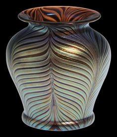 STUNNING Hand Blown Bohemian Glass Vase with gorgeous silver tones of blue, plum and chocolate. Delightful Bohemian glass vase by Daniel Stepanek. Glass Vessel, Glass Ceramic, Vases, Blown Glass Art, Objet D'art, Leaded Glass, Vintage Bohemian, Bottle Art, Glass Ornaments
