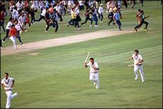 India's players run for the pavilion after Mohinder Amarnath seals a 43-run victory by bowling Michael Holding. '83 world cup final.