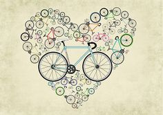 I Heart my bike! This illustration is made up of an estimated 12,000 individual parts and many different colours, see if you can spot your bike or send me a message and I can put the colours of your beloved machine as the central bike for you!