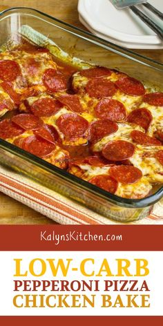 Try this Low-Carb Pepperoni Pizza Chicken Bake when you need some low-carb and g. Try this Low-Carb Pepperoni Pizza Chicken Bake when you need some low-carb and gluten-free comfort Healthy Low Carb Recipes, Low Carb Dinner Recipes, Low Carb Keto, Cooking Recipes, Chicken Bake Recipes, Keto Dinner, Spinach Recipes, Carb Free Foods, Low Carb Food