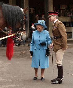 The Queen visits The Household Cavalry Mounted Regiment. October 2017.