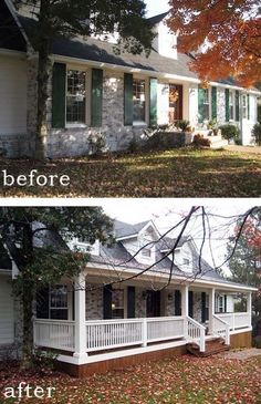 Before and After: 7 Sensational Front Porch Additions. We already have a front porch, but it's weak. Trying to gather different ideas. Houses just look better with a front porch. Renovation Facade, Home Renovation, Home Remodeling, Bathroom Renovations, Farmhouse Renovation, Farmhouse Remodel, Farmhouse Plans, Bathrooms, Café Exterior
