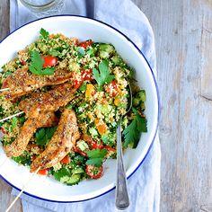 Kyllingspyd med couscous-salat