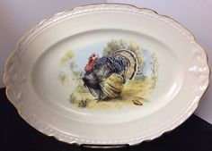 "Thanksgiving Turkey Platter Embassy Vitrified China USA 15 3/4"" - Made in USA #Embassy"