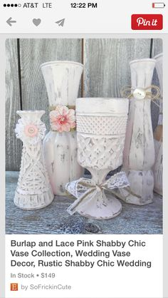 Use old vases and chalk paint to decorate simply...