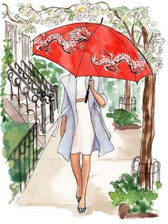 Red Chinese umbrella watercolor fashion illustration by Inslee Haynes :) Art Calendar, Calendar Girls, Watercolor Fashion, Watercolor Art, Arte Fashion, Fashion Fashion, Fashion Design, Fashion Trends, Art Et Illustration