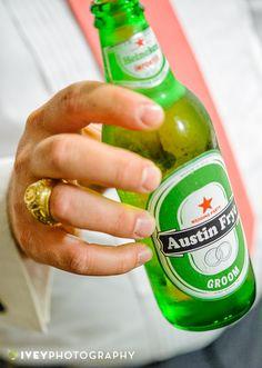 Custom Groom's wedding beer bottle