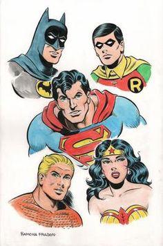 Ramona Fradon Original JLA Super Friend Art Superman Wonder Woman Aquaman Batman   eBay