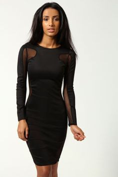 Lilly Mesh Exposed Top And Side Bodycon Dress at boohoo.com