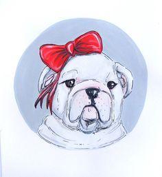 White Bulldog illustration original painting. red by netapuppy