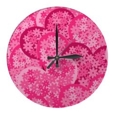 Cute floral hearts in pink wall clocks