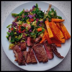 """""""Sorry for not updating you all earlier I ran out of Internet data and been waiting for today as I'm off to CHRISTCHURCH!!!! So this is last nights dinner - steak and 5 veg, I used the Kumara/Sweet Potato chips I used before and added some chilli to the kale mix - YUMMMMM! Loved it! @iquitsugar #realfood #naturalfood #wholefood #foodpics #foodporn #iquitsugar #lowsugar #diabeticfriendly #glutenfree #wheatfree #justeatrealfood #fuellingthisflankerlady #IQS8WP #IQSJERF #JERF #IQS #paleo…"""