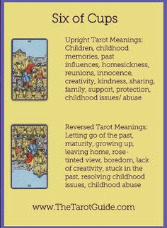 Six of Cups Tarot Flashcard showing the best keyword meanings for the upright & reversed card, free online Minor Arcana flashcards, made by professional psychic Tarot reader, The Tarot Guide, the easy way to learn how to accurately read Tarot. What Are Tarot Cards, Tarot Card Spreads, Tarot Astrology, Tarot Card Meanings, Tarot Readers, Card Reading, Reading Tips, Tarot Decks, Deck Of Cards