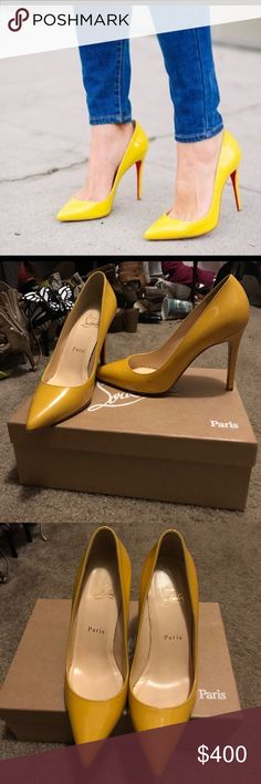 💛Yellow Pigalle 100mm💛 AMAZING Christian Louboutin Pigalles * Heel height 100 * Patent leather in yellow * Size 36.5 I purchased these brand new for myself at Neiman Marcus in Denver. They do have a color transfer mark but otherwise in excellent shape! 💛💛 Christian Louboutin Shoes