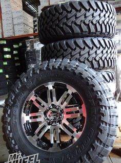 """18x8.5"""" Vision Warrior Wheels, with 35x12.50x18 Toyo Open Country MT tires Toyota Trucks, Gmc Trucks, Jeep Cherokee Xj, Rims And Tires, Auto Accessories, Nissan Pathfinder, Truck Wheels, My Ride, Toyota Land Cruiser"""