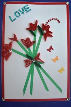Triangle Love Flower Card- Handmade Quilling Greeting Card