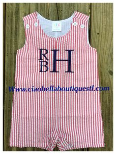 e2459643101 Ciao Bella Boutique · Children Monograms · Red Seersucker Boy Rompers are  so cute for your July 4th 🇺🇸Celebrations!