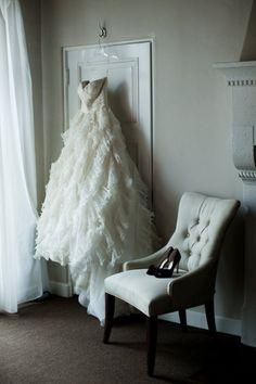 style me pretty - real wedding - usa - california - los angeles wedding - vibiana - bride - getting ready - wedding dress & wedding shoes